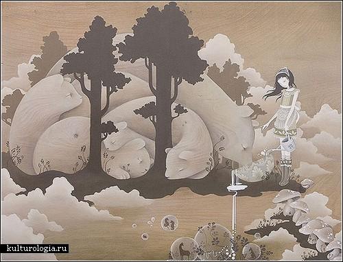 Картины Эми Сол: девушки, животные и мечты
