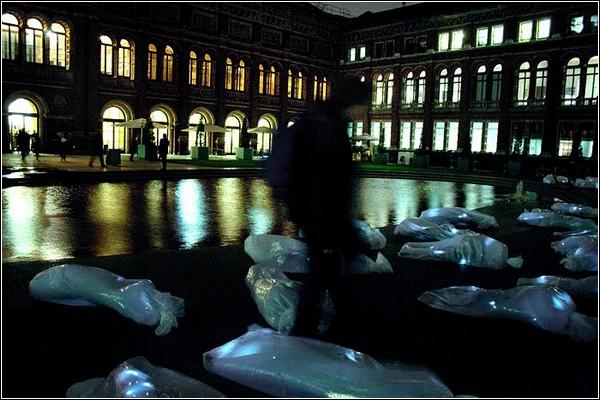 Светящееся кладбище теней – новая инсталляция от Luzinterruptus