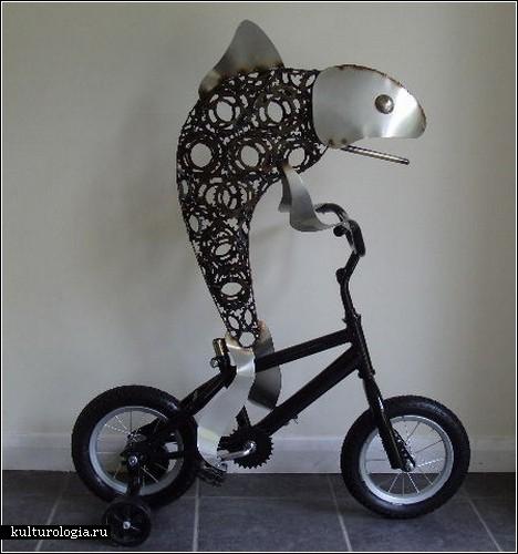 Скульптуры из велосипедных частей от Дарена Гринхау