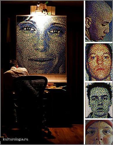 Портреты из канцелярских кнопок от Эрика Дейга