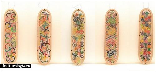 Арт-объекты из старых скейтбордов от HARVEST by Haroshi
