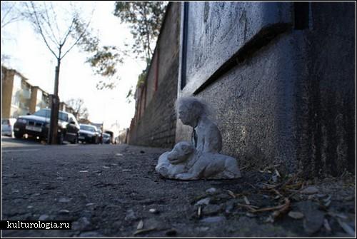 Люди из цемента на улицах города. Арт-проект Исаака Кордала