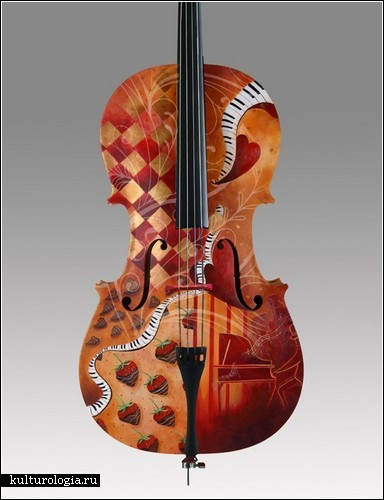 Например, разрисовывает виолончели.  Так, красивый музыкальный инструмент становится настоящим произведением...