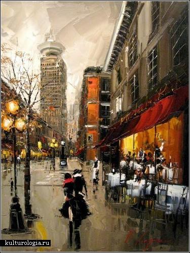 Живопись Kal Gajoum: красные зонтики и не только