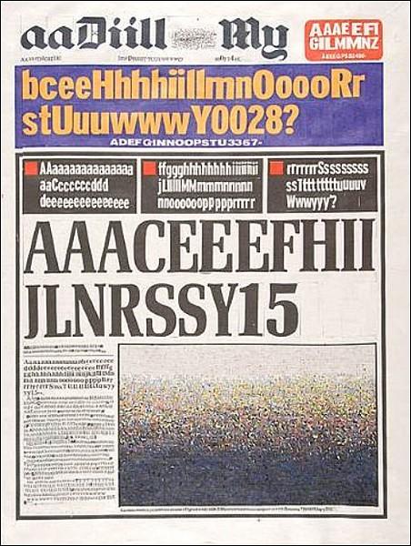 Газетный текст в алфавитном порядке