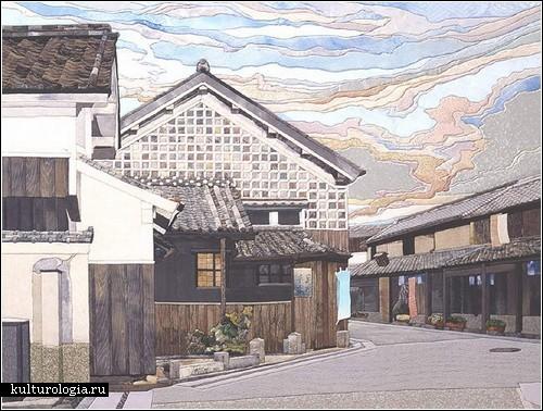Японские пейзажи из шелка от Маэно Такаси