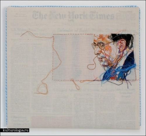 «Газетная» вышивка Lauren Diciоccio