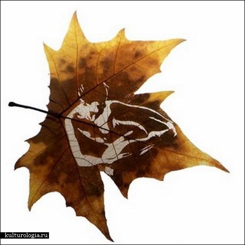 И с какими материалами они только не работают.  Казалось бы, что еще можно добавить к красоте опавших, сухих листьев.