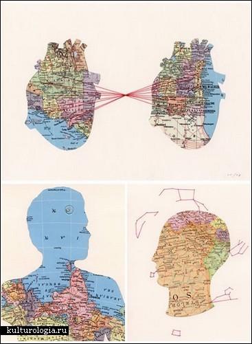 Коллажи из географических карт от Шеннон Рэнкин