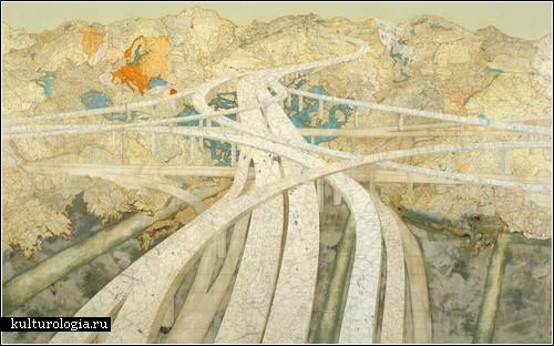 Коллажи из географических карт Мэтью Кьюсика