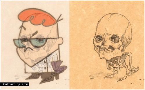 Скелеты мультяшных героев от Майкла Паулуса