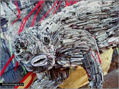 Газетные скульптуры Ника Гиоргиу