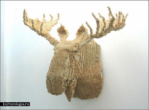 Пиксельная природа в скульптурах Шоуна Смита