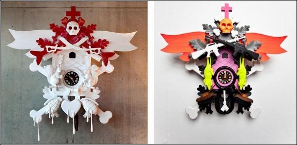 Часы с кукушкой в стиле поп-арт от Штефана Штрумбеля