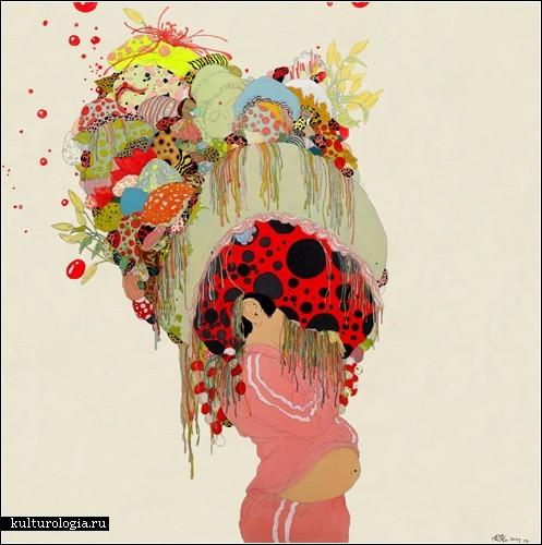 Летающие медузы и цветные мечты на картинах Чжоу Фэна