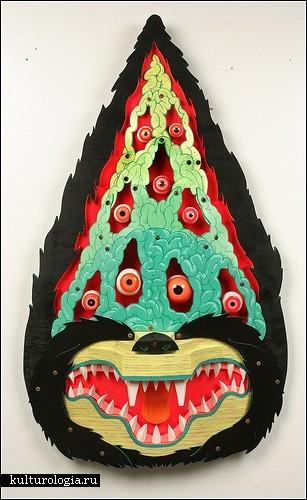Красочные деревянные маски-звери от AJ Fosik