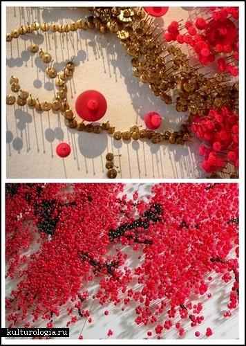 Пуговично-булавочное искусство в инсталляциях Ran Hwang