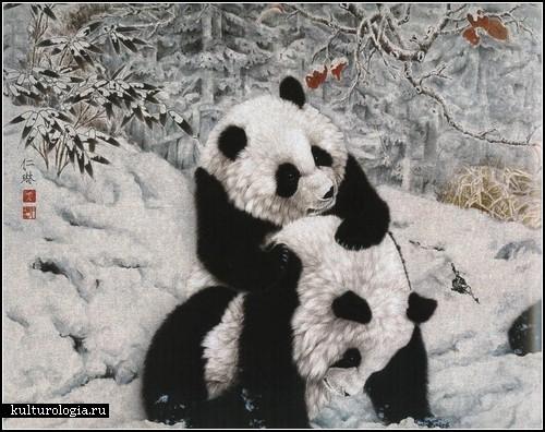 Панды, нарисованные в стиле гохуа, Китай