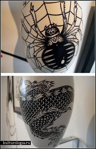 Роспись на кеглях для боулинга Автор Nate Holmes Trapnell