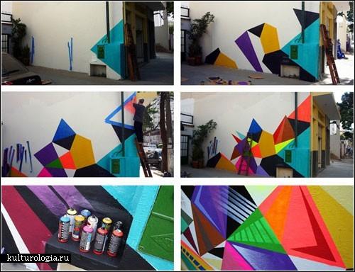 Красочные граффити на стенах бразильских домов. Художник Matt W. Moore