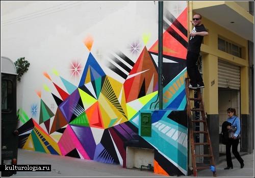 Геометрическое граффити бразильца matt