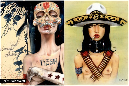 Курящие женщины. Картины Брайана Вивероса (Brian М. Viveros)