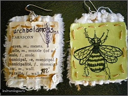 Креативные серьги, созданные из ткани и бумаги