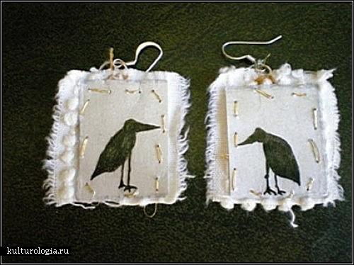 Креативные br /серьги, созданные из ткани и бумаги.