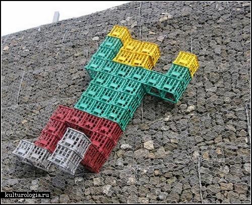 Сrate men. Необычный стрит-арт на улицах дальнего зарубежья