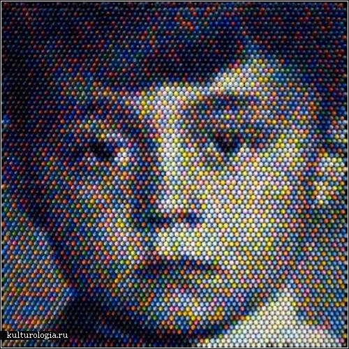Кристиан Фаур (Christian Faur) выкладывает картины цветными мелками