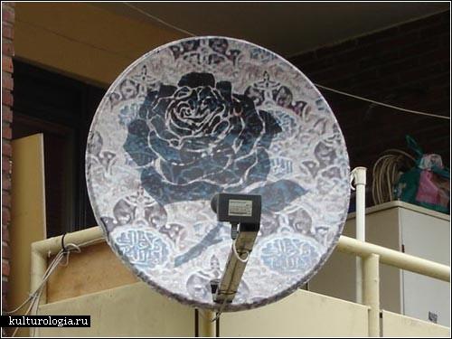 Необычный декор спутниковых тарелок