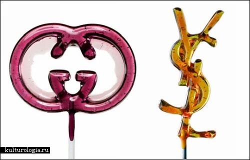 ...в виде логотипов Модных Домов Louis Vuitton, Gucci, Chanel и...