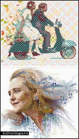 Мозаичные коллажи-портреты от Charis Tsevis