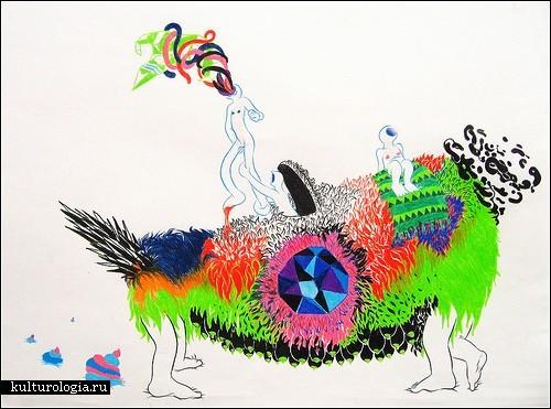 Абстракции Ори Тура (Ori Toor), нарисованные цветными мелками