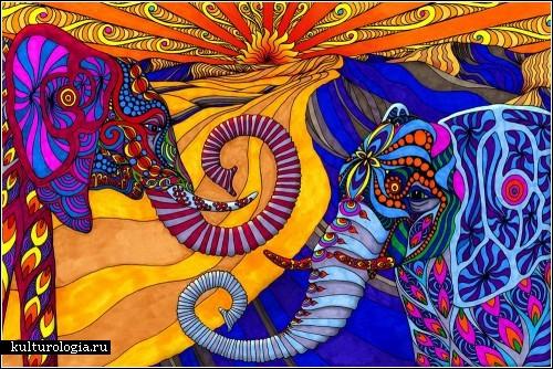 Фил Льюис (Phil Lewis) и его *Раскраски для взрослых*. Разноцветный психодел-арт