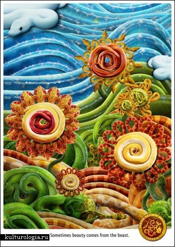 Рекламные принты, сделанные из змей