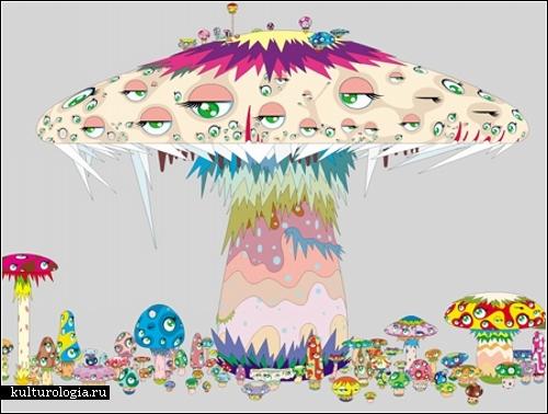 Психоделический поп-арт японского художника и мультиплакатора Такаси Мураками (Takashi Murakami)