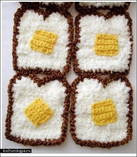 Вязаные аксессуары Твинки Чан (Twinkie Chan). Еда в виде шарфов и шапок