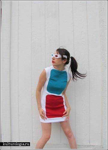 Трехмерное платье в дополнение к очкам