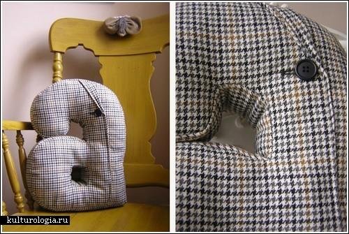 Подушки-буквы из старых пиджаков