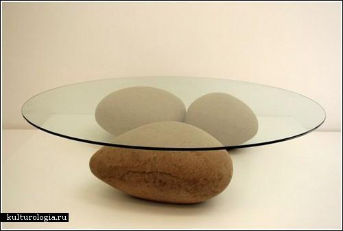 Как сделать камень из картона или Необычный стол «Вода»