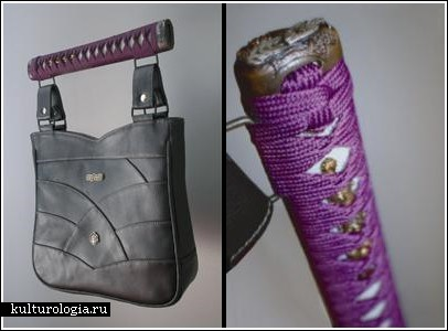 Вместо ручек у сумок - меч и катана.  406x300 www.kulturologia.ru.