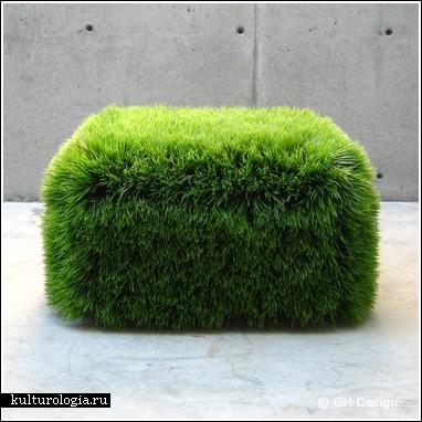 Так что дизайнер Nancy Favier создала пуфик, на котором хоть и растет трава
