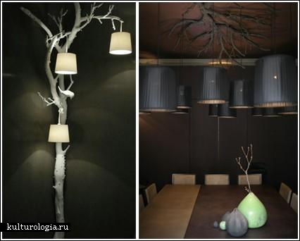 Светильники из стволов и веток деревьев