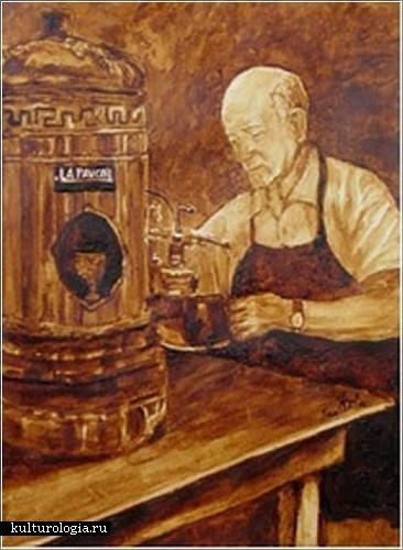 Картины, нарисованные кофе. Художники Энджела Саркела (Angel Sarkela) и  Энди Саур (Andy Saur)