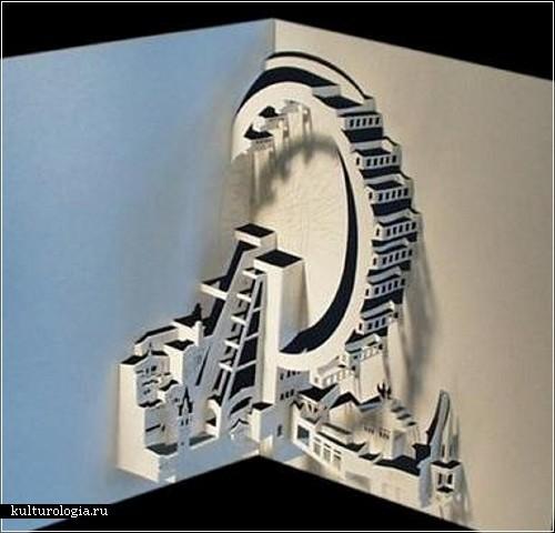 как сделать замок из бумаги, как склеить замок из бумаги, модели из.
