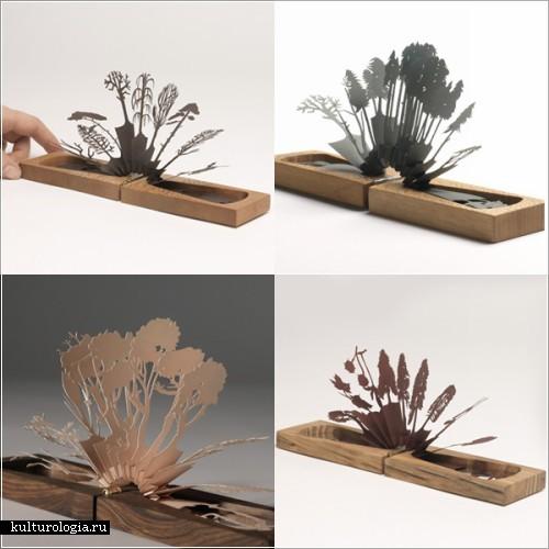Инсталляции из дерева и бумаги лиззи