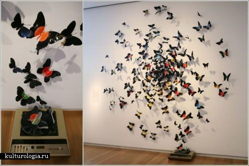 Бабочки из виниловых пластинок от Пола Виллински (Paul Villinski)