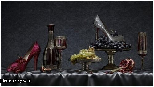 Реклама новой коллекции туфель Кристиана Лабутена в стиле натюрмортов 18 века. Фотограф Питер Липпманн