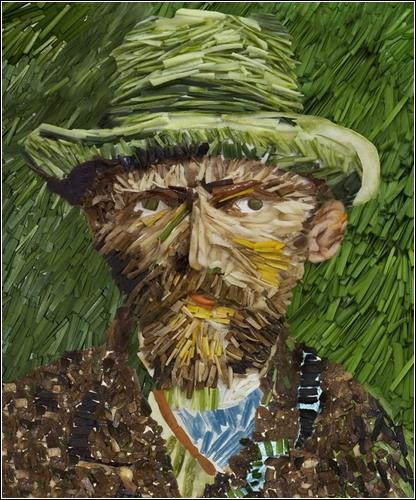 «Автопортрет» Ван Гога из лука-порея (художник Ju Duoqi)